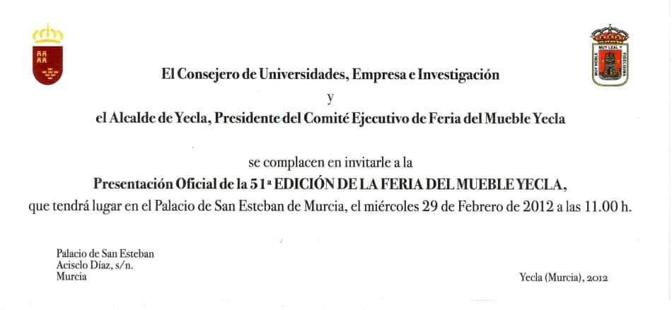 El miércoles se presenta oficialmente en Murcia la 51ª Feria del Mueble Yecla