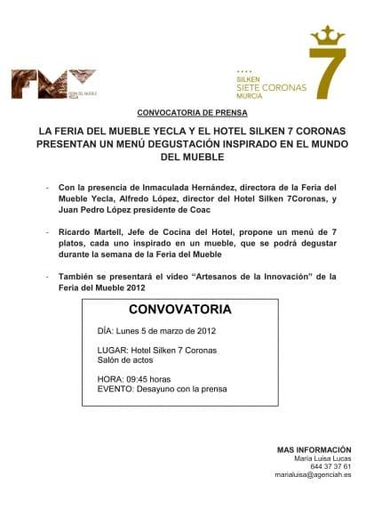 """La semana de la Feria del Mueble Yecla """"abre boca"""" el lunes en el Silken Siete Coronas de Murcia"""