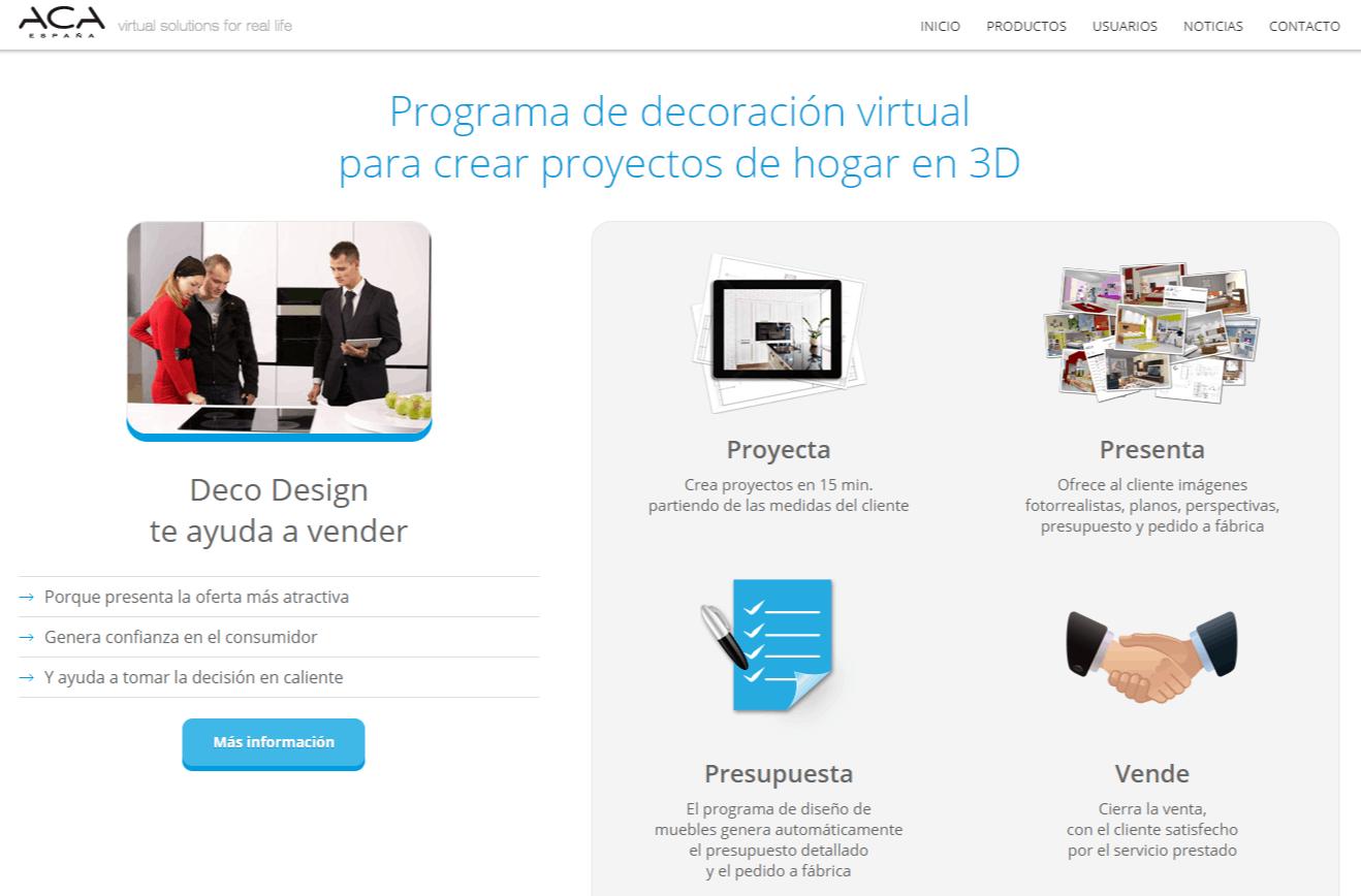 Programa de diseño de muebles 3D. Deco Design. ACA España