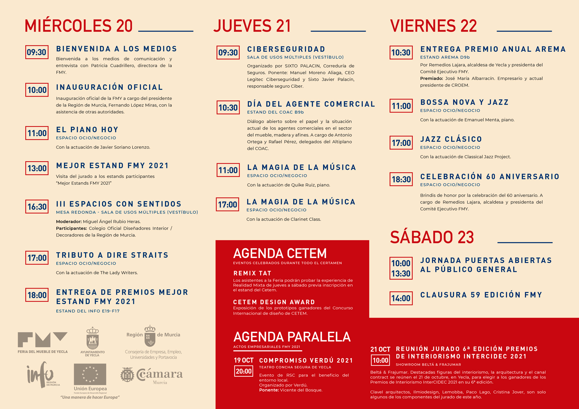 Agenda de la Feria del Mueble Yecla 2021